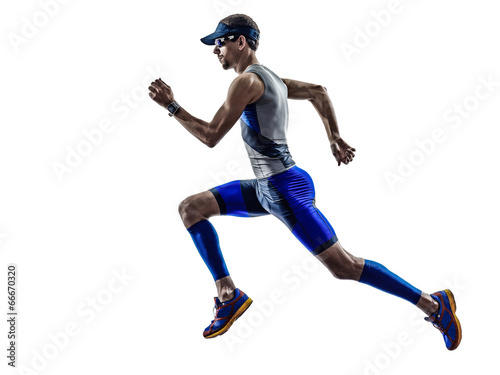 Photo  man triathlon iron man athlete runners running