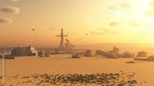 Fototapeta Martian Desert Colony