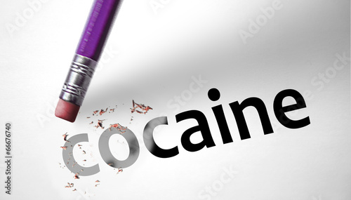 Photo  Eraser deleting the word Cocaine