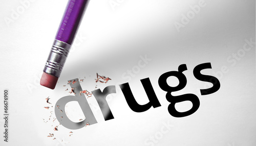 Photo  Eraser deleting the word Drugs
