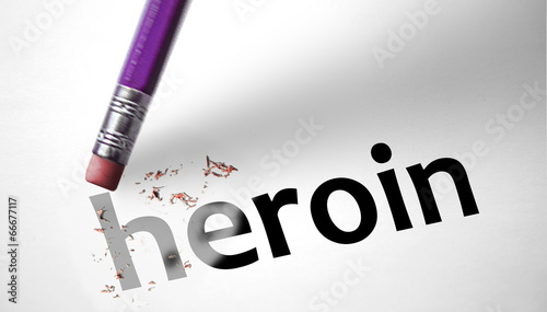 Photo  Eraser deleting the word Heroin