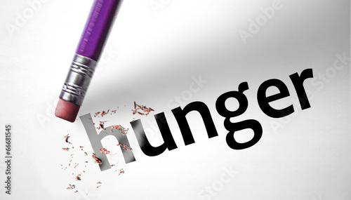 Obraz na plátne Eraser deleting the word Hunger