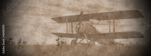 Biplane on the grass - 3D render Canvas-taulu
