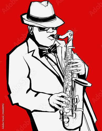 Staande foto Muziekband Jazz music saxophonist on a red background