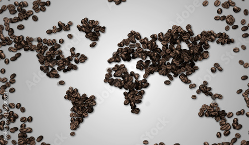 World map Coffee Bean on White  Paper