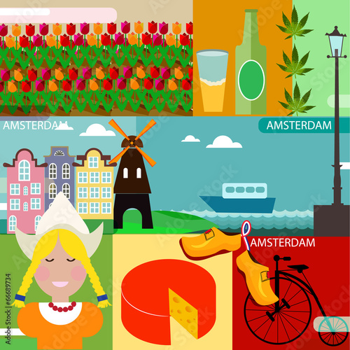 Photo  Vector set of various stylized Amsterdam icons