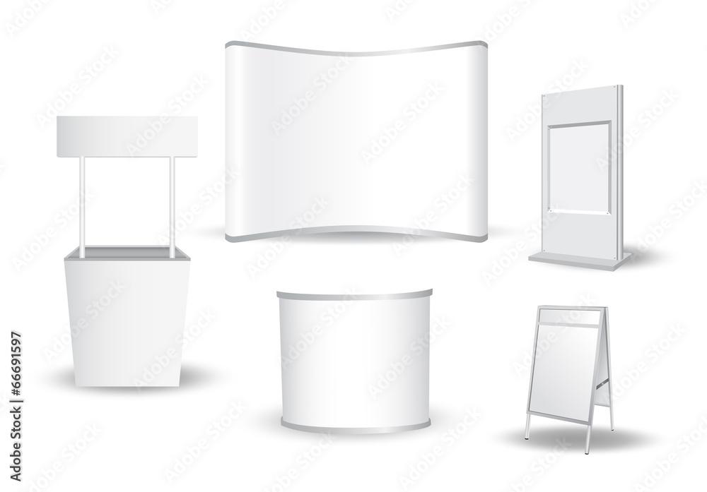 Fototapeta Set of blank exhibition stand