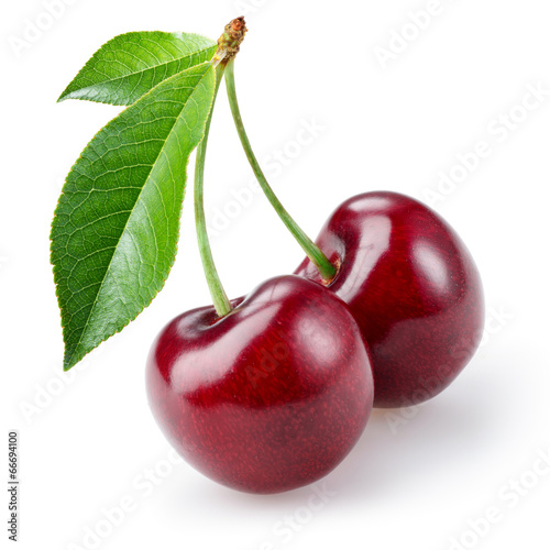 Fotografie, Tablou Cherry isolated on white background
