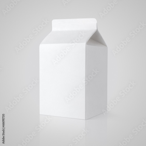 Vászonkép White blank milk carton package on gray with clipping path