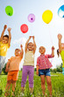 canvas print picture Funny kids with balloons in the air