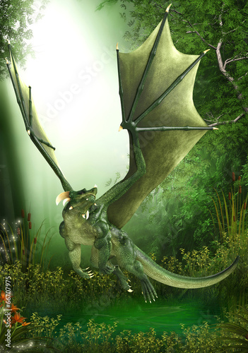 green dragon just flying
