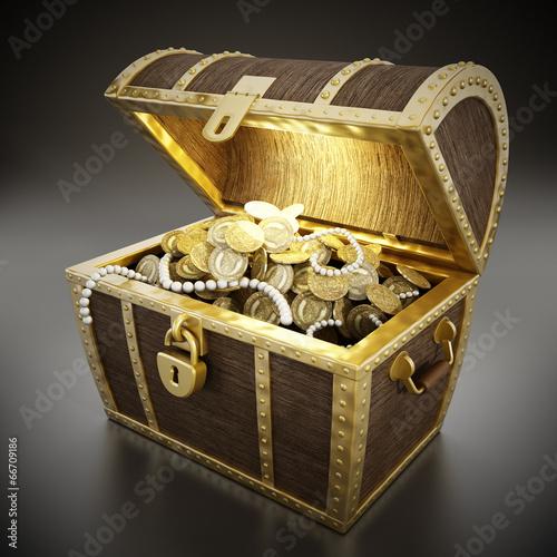 Fotografia Treasure chest full of treasures