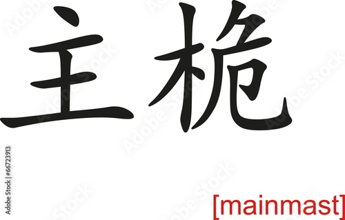 Photo Chinese Sign for mainmast