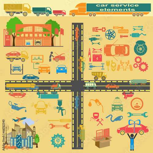 Poster de jardin Route Set of auto repair service elements for creating your own infogr