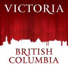 Victoria British Columbia Canada City Skyline Silhouette Red Bac