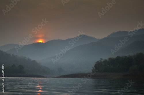 Canvas Prints Sunset Sunset at Mae Ngad Dam