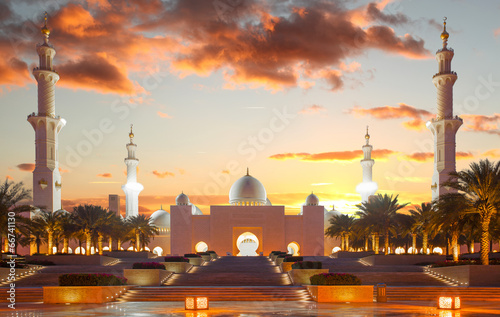 Poster Dubai Sheikh Zayed mosque in Abu Dhabi, United Arab Emirates
