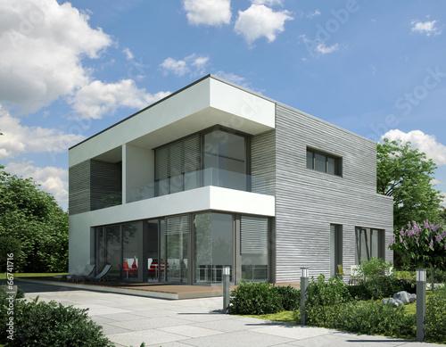 Fototapeta Haus Kubus Holz grau obraz na płótnie