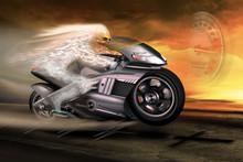 Ghost Rider Auf Motorrad Mit T...