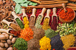 canvas print picture - composition with different spices and herbs
