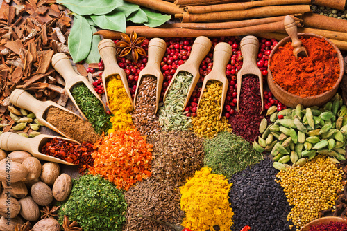 Fotografija composition with different spices and herbs