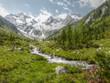 Berglandschaft mit Wildbach vom Gletscher in HDR