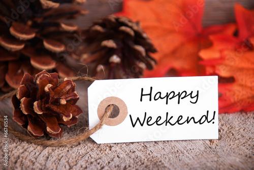 Fotografía  Fall Label with Happy Weekend