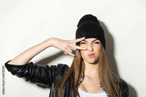 Fotografie, Obraz  Hipster teenage girl with beanie hat posing