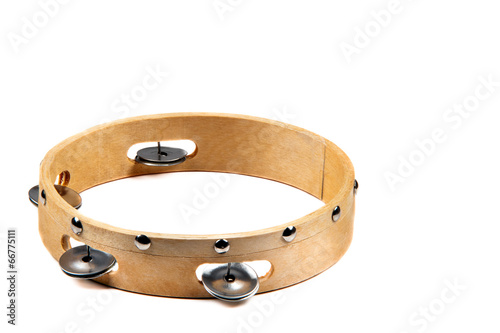 Obraz na płótnie Isolated wooden tambourine with bell on white background