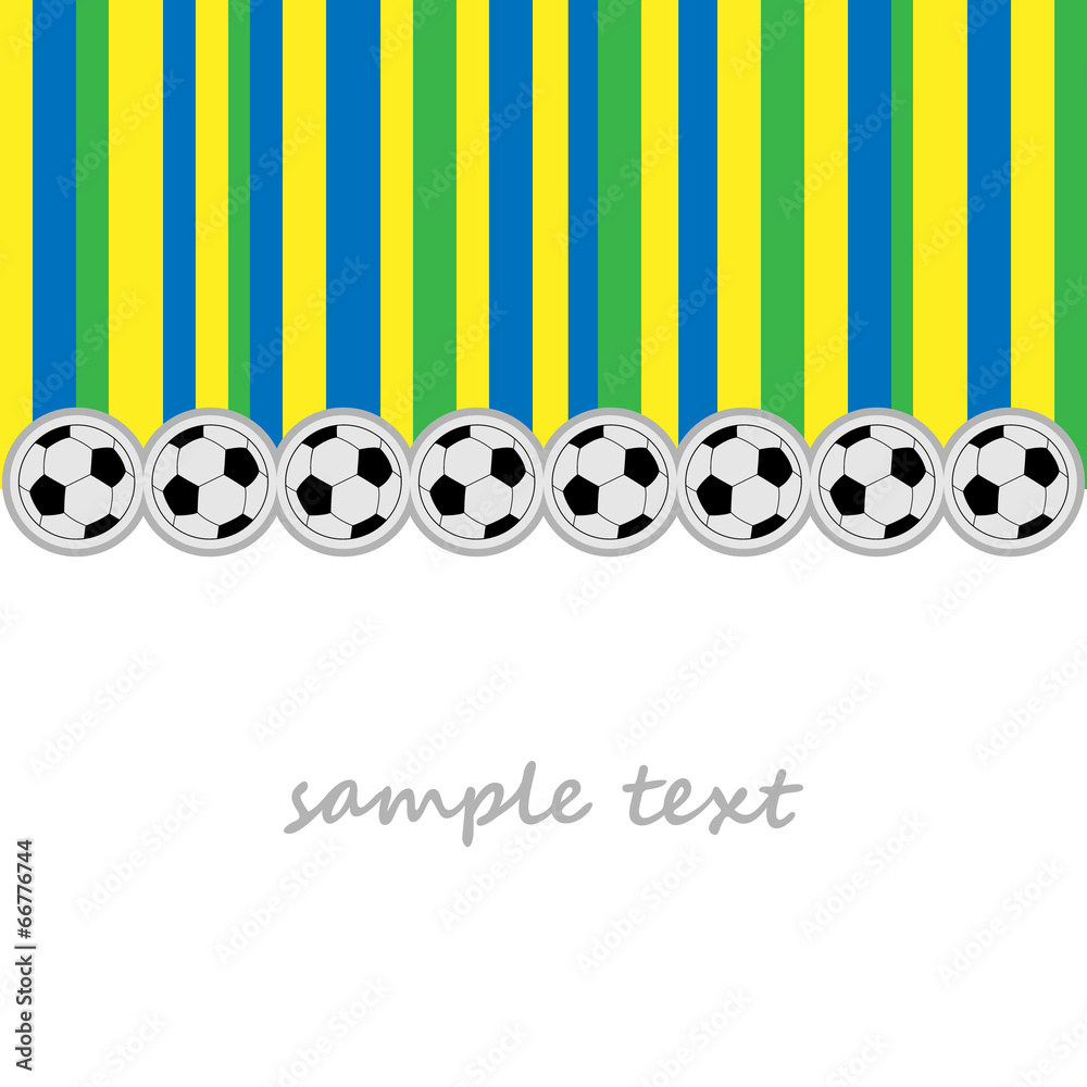 Photo  background football balls and striped using brazil flag colors