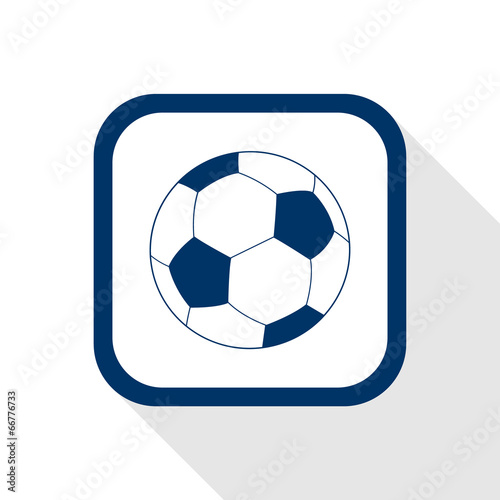 Photo  square blue icon football ball with long shadow