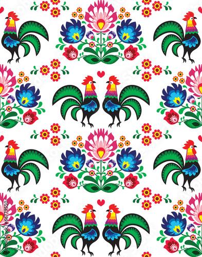 Obraz Seamless Polish folk art pattern - Wzory Lowickie, wycinanka - fototapety do salonu