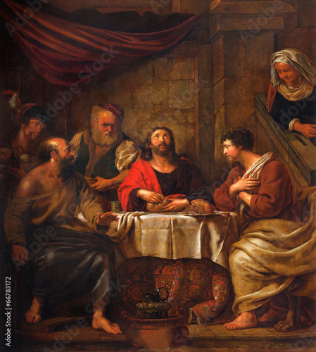 Photo  Mechelen - Jesus and disciple of Emausy at supper