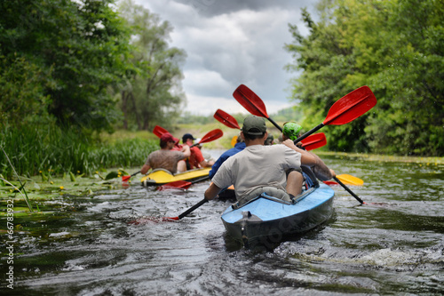 Valokuva  2014 Ukraine river Sula river rafting kayaking editorial photo