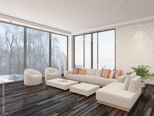 Luftiges Helles Wohnzimmer Mit Parkettboden Und Weisser Couch Buy