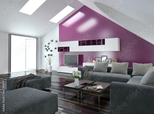 Modernes Wohnzimmer Mit Pinker Wand Und Grauer Couch Buy This