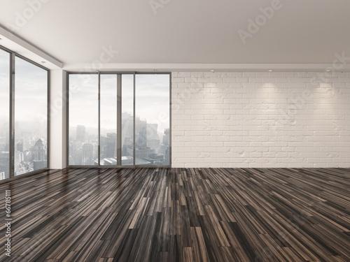 Fotografía  Empty apartment living room overlooking a town