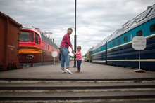 Mother And Child On Platform
