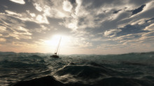 Lost Sailing Boat In Wild Stor...