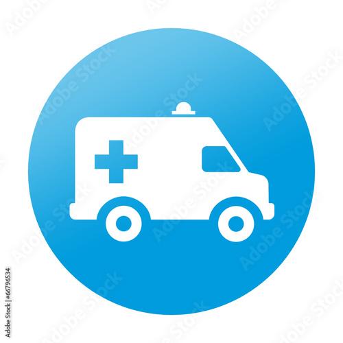 Etiqueta redonda ambulancia