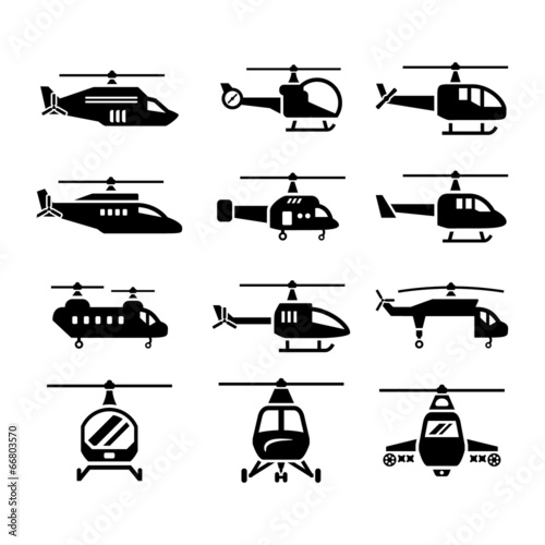 Set icons of helicopters Wall mural