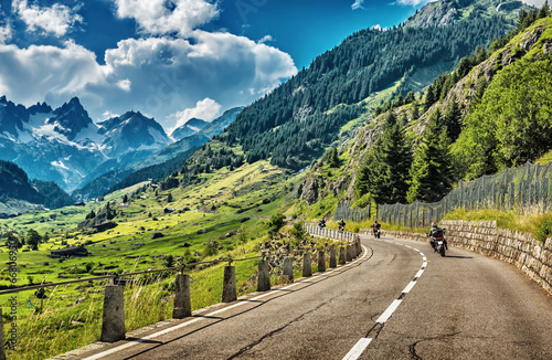 Group of bikers touring European Alps Fototapeta