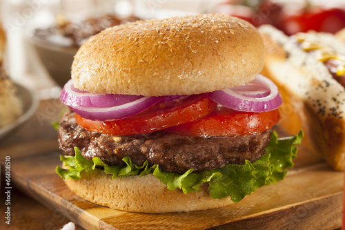 Fotografie, Obraz  Hearty Grilled Hamburger with Lettuce and Tomato