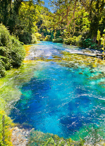 Blue Eye is a water spring in Delvine district, Albania. Canvas Print