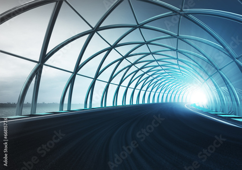 Papiers peints Tunnel steel arch construction along speed track in motion