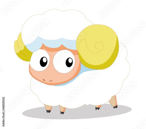 Poster Oiseaux, Abeilles Cute baby sheep cartoon