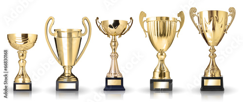 Obraz na plátně Set of golden trophies. Isolated on white background