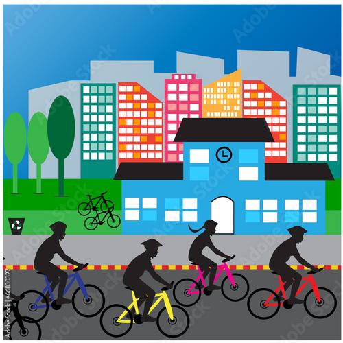 Bicyclist  City street  Traffic  life health - 66830327