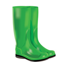 Rubber Boots On White Background.
