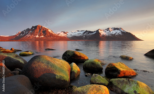 Poster Scandinavia Sunset in Norwegian coast, Senja